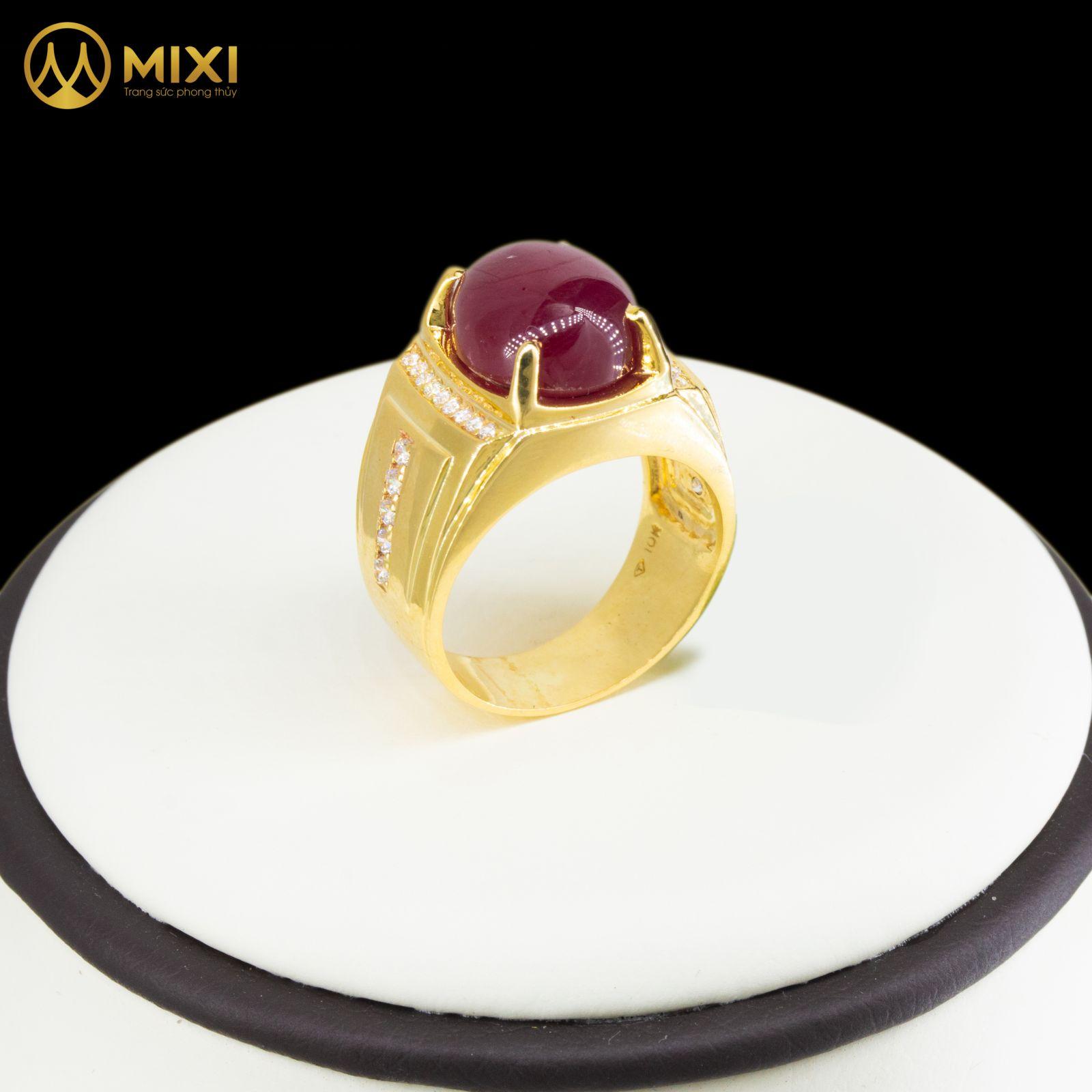 Nhẫn Nam Mặt Đá Ruby 2A Hình Oval Vàng 10K