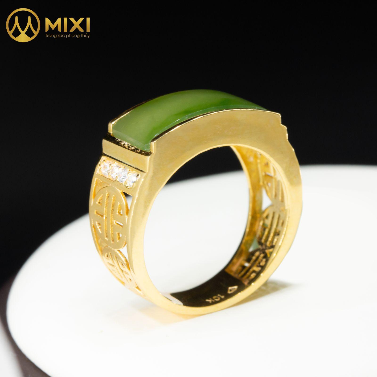 Nhẫn Nam Mặt Ngọc Bích Hình Yên Ngựa Vàng 10K