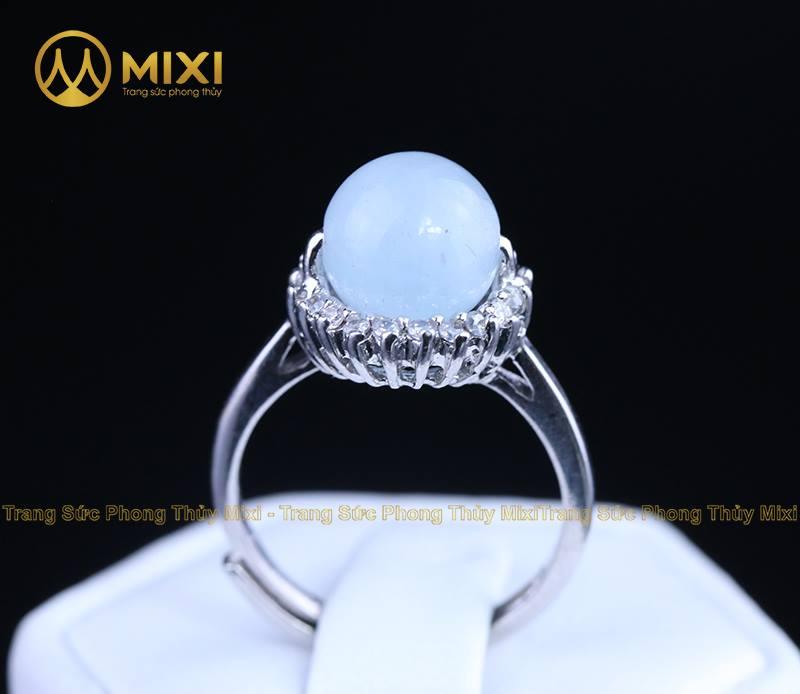 Nhẫn Bạc Xi Vàng Trắng Đá Aquamarine