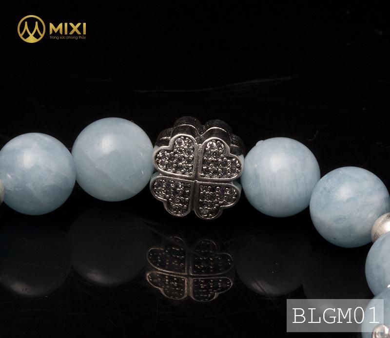 Vòng Tay Đá Aquamarine 2A 10 Mix Charm Lưới Giấc Mơ (Dreamcatcher) Bạc 925 BLGM01