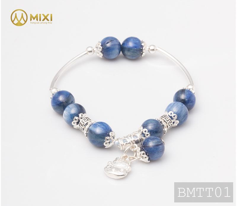 Vòng Tay Đá Kyanite 1A 10 Mix Charm Mèo Thần Tài Treo Bạc 999 BMTT01