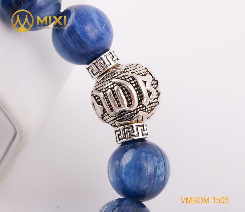 Vòng tay Kyanite 1A 12 mix Charm Omshanti Bạc 925 12 BOST02
