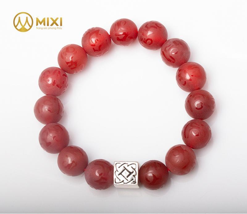 Vòng Tay Mã Não Đỏ Nhám Kinh Phật 12 Mix Charm Bình An Bạc 999