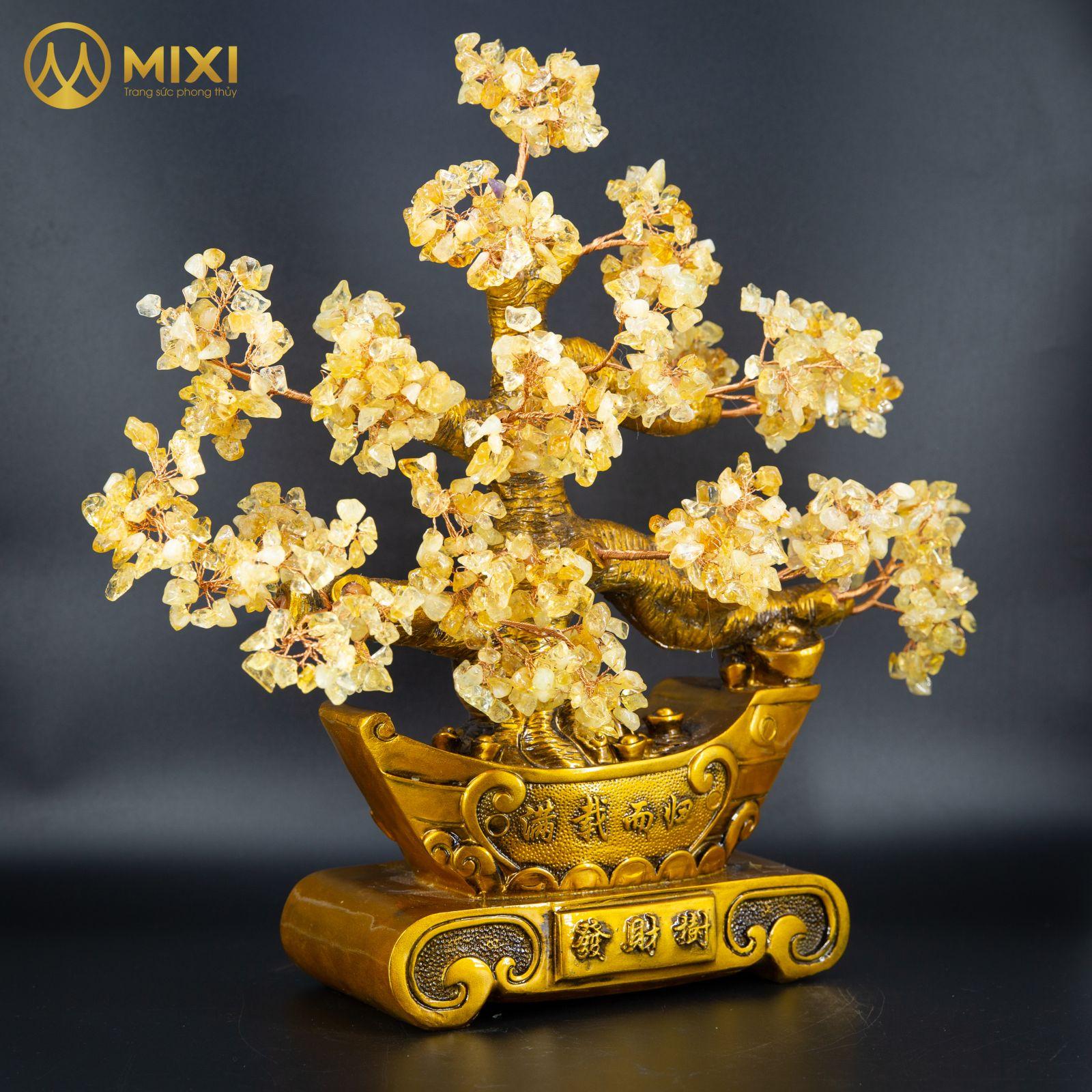 Cây Tài Lộc Thạch Anh Vàng Thuyền Vàng