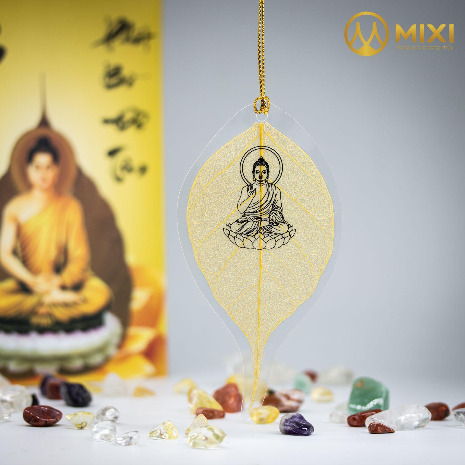 Lá Bồ Đề Màu Vàng In Hình Phật