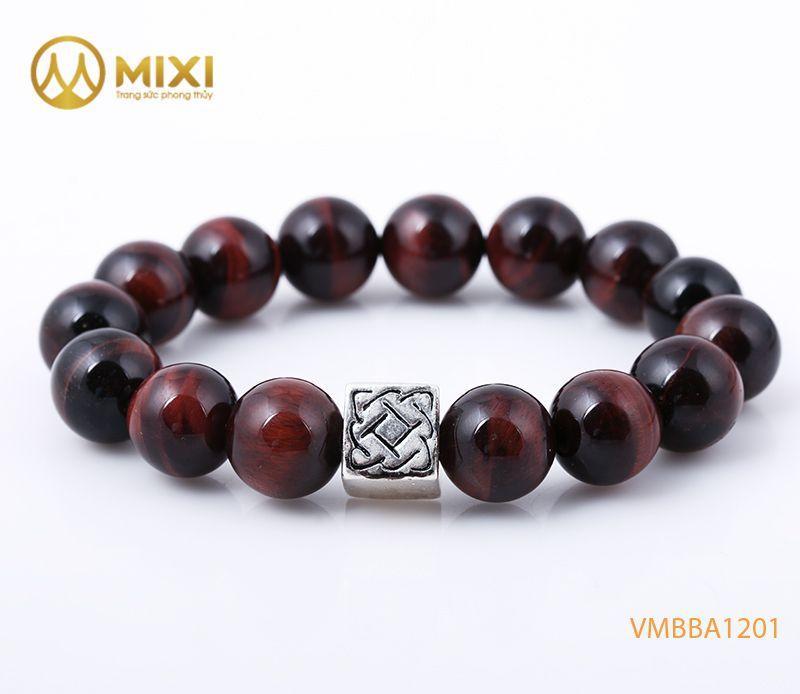 Vòng tay Mắt Hổ Đỏ 1A 12 mix Charm Bình An Bạc 999
