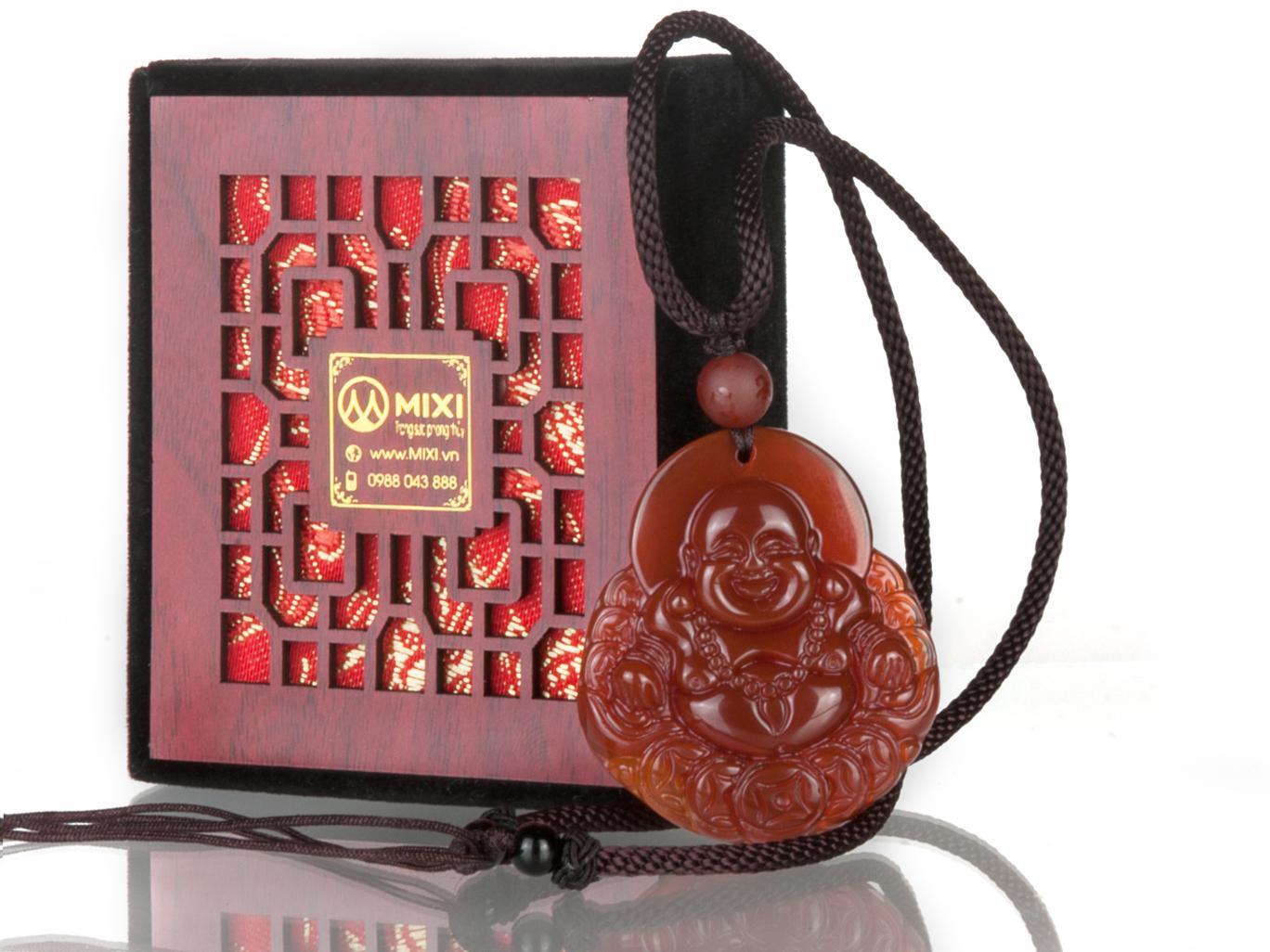 Mặt Dây Phật Di Lặc Mã Não Đỏ