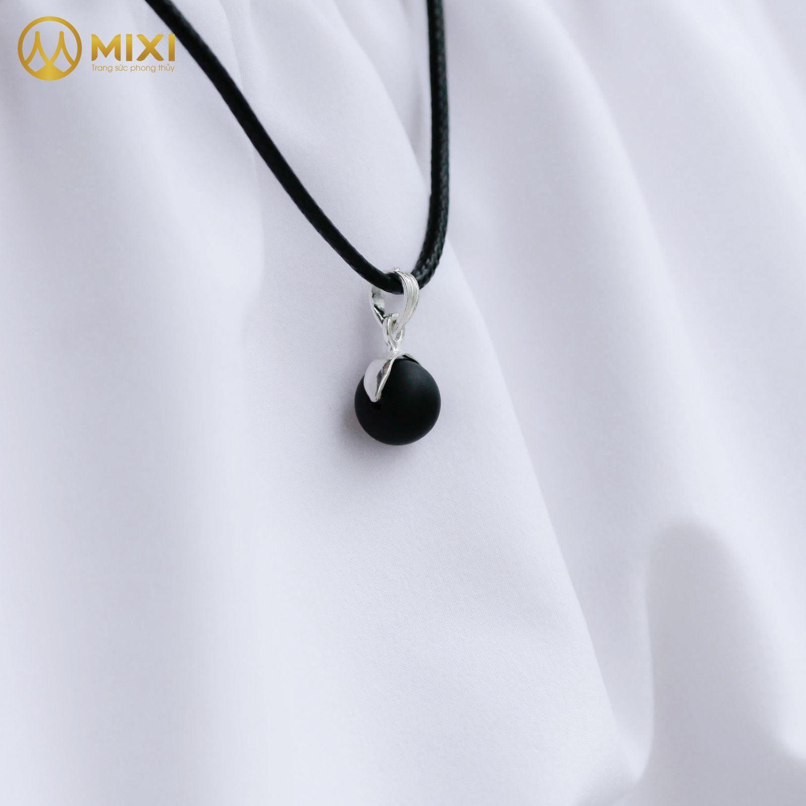 Dây Chuyền Hạt Đá Núi Lửa Obsidian Nhám 10 Móc Hạt Chanh