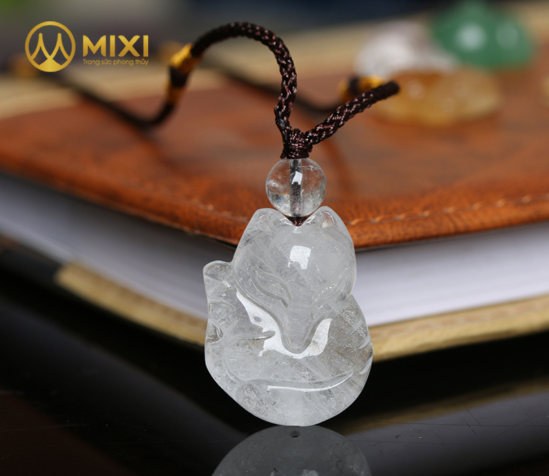 Mặt Dây Hồ Ly Thạch Anh Trắng 1A