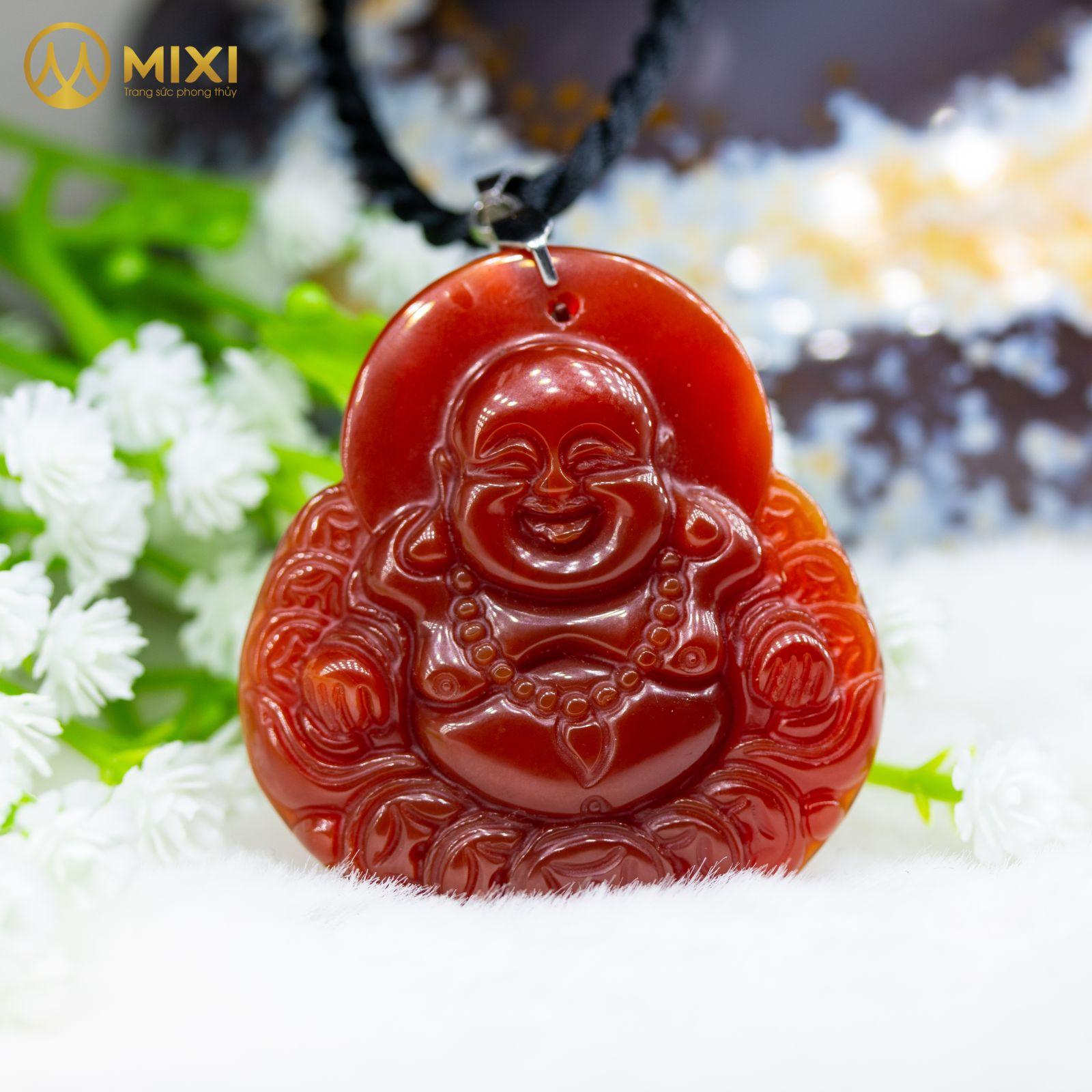 Mặt Dây Phật Di Lặc Mã Não Đỏ_Nhỏ