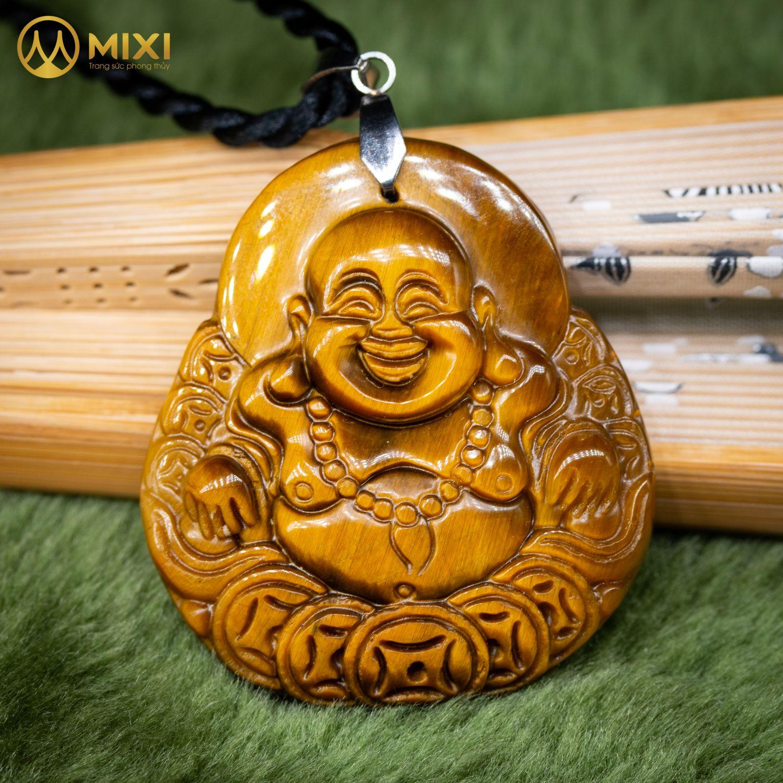Mặt Dây Phật Di Lặc Mắt Hổ Nâu_Nhỏ