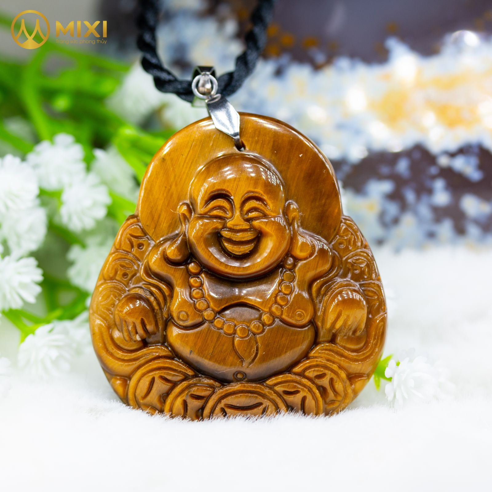 Mặt Dây Phật Di Lặc Mắt Hổ Nâu