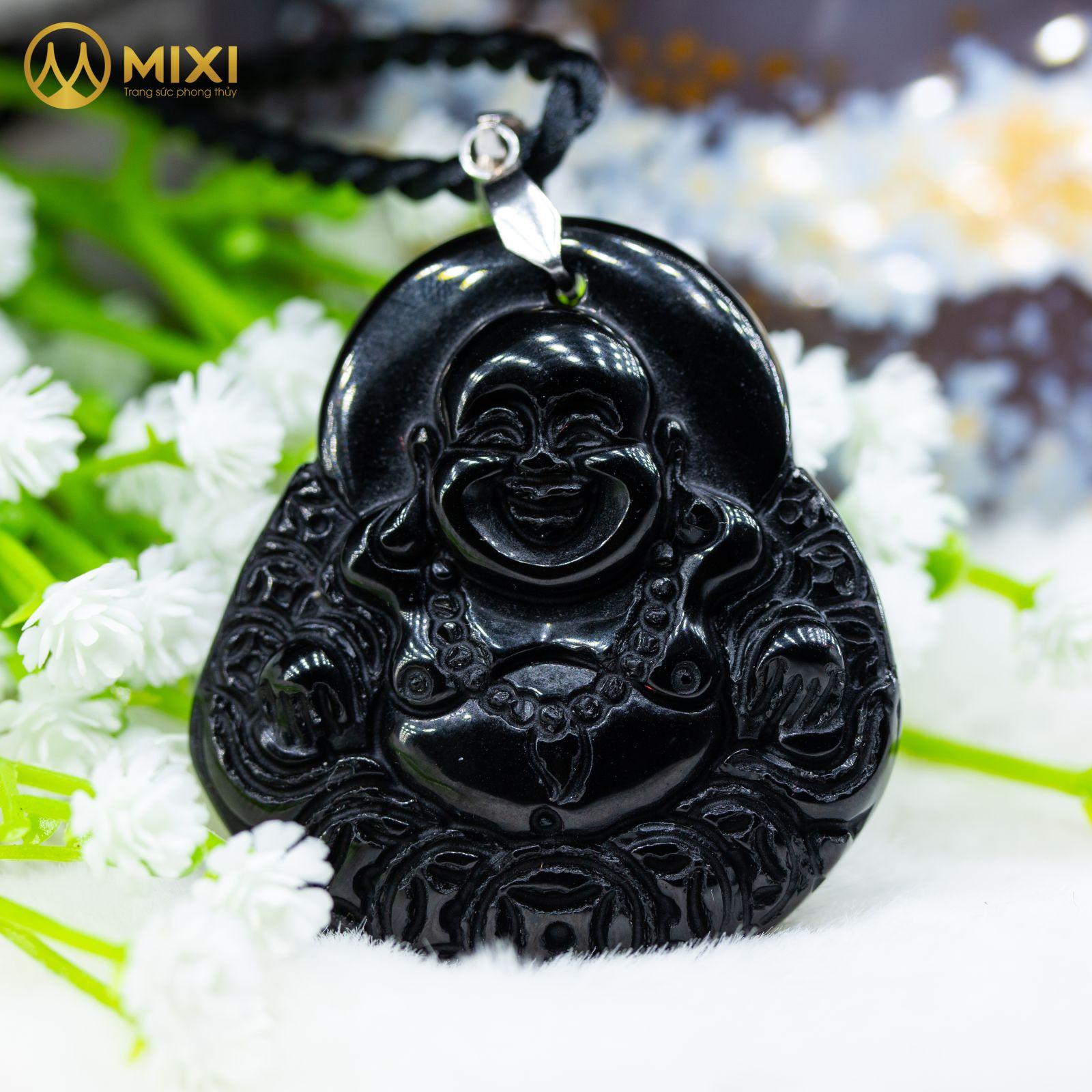 Mặt Dây Phật Di Lặc Núi Lửa Obsidian