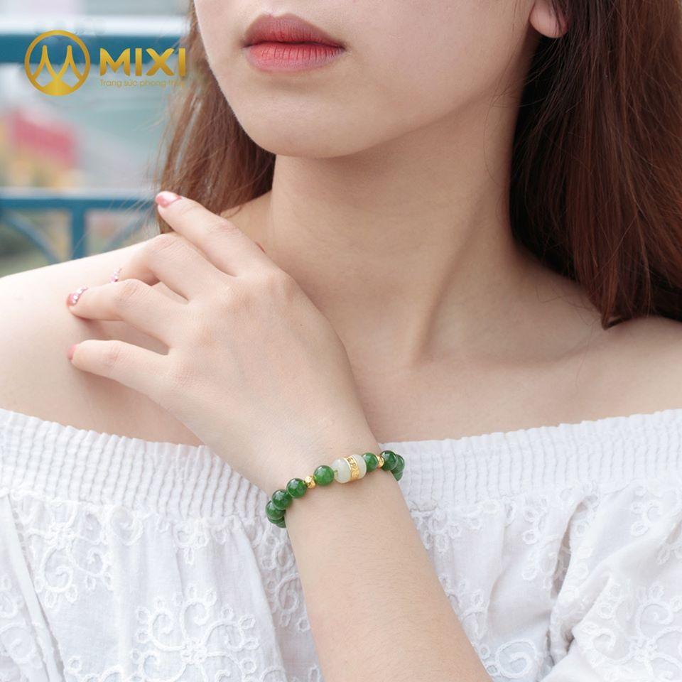 Vòng Tay Ngọc Nephrite 2A_8 Mix Lu Thống Mạ Vàng