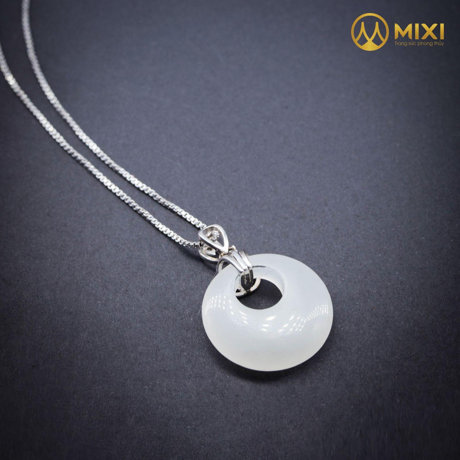 Mặt Dây Chuyền Bạc Bạch Ngọc Onyx Marble Đồng Điếu