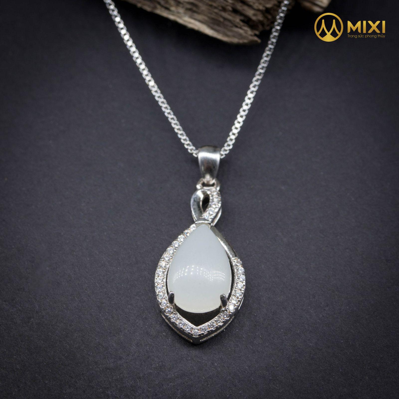 Mặt Dây Chuyền Bạch Ngọc Onyx Marble Bọc Bạc Hình Giọt Nước
