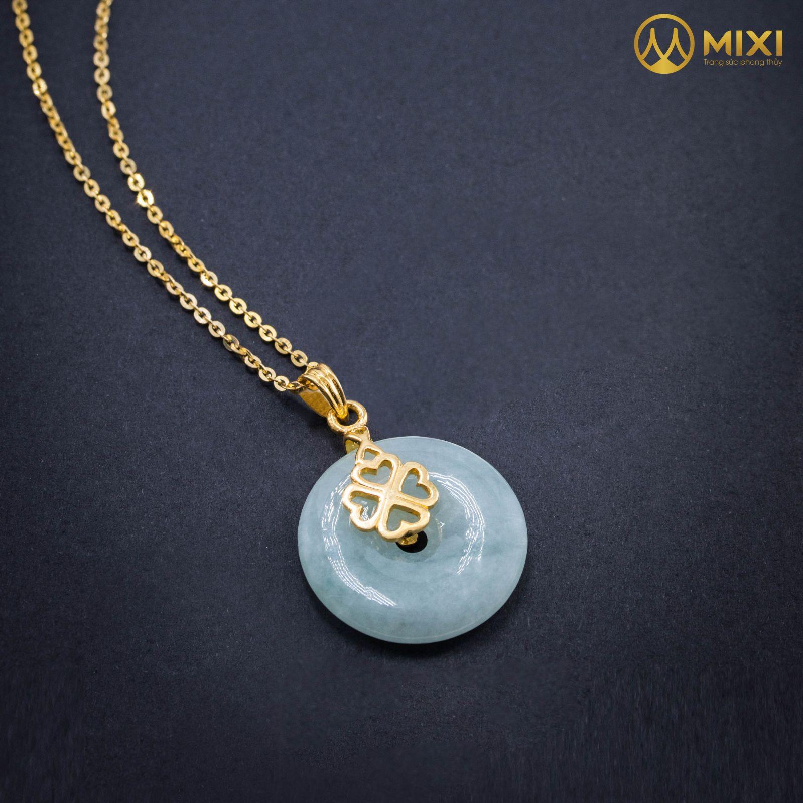 Mặt Đá Đồng Điếu Ngọc Cẩm Thạch Bọc Vàng Họa Tiết Cỏ 4 Lá Kèm DC Vàng_10K