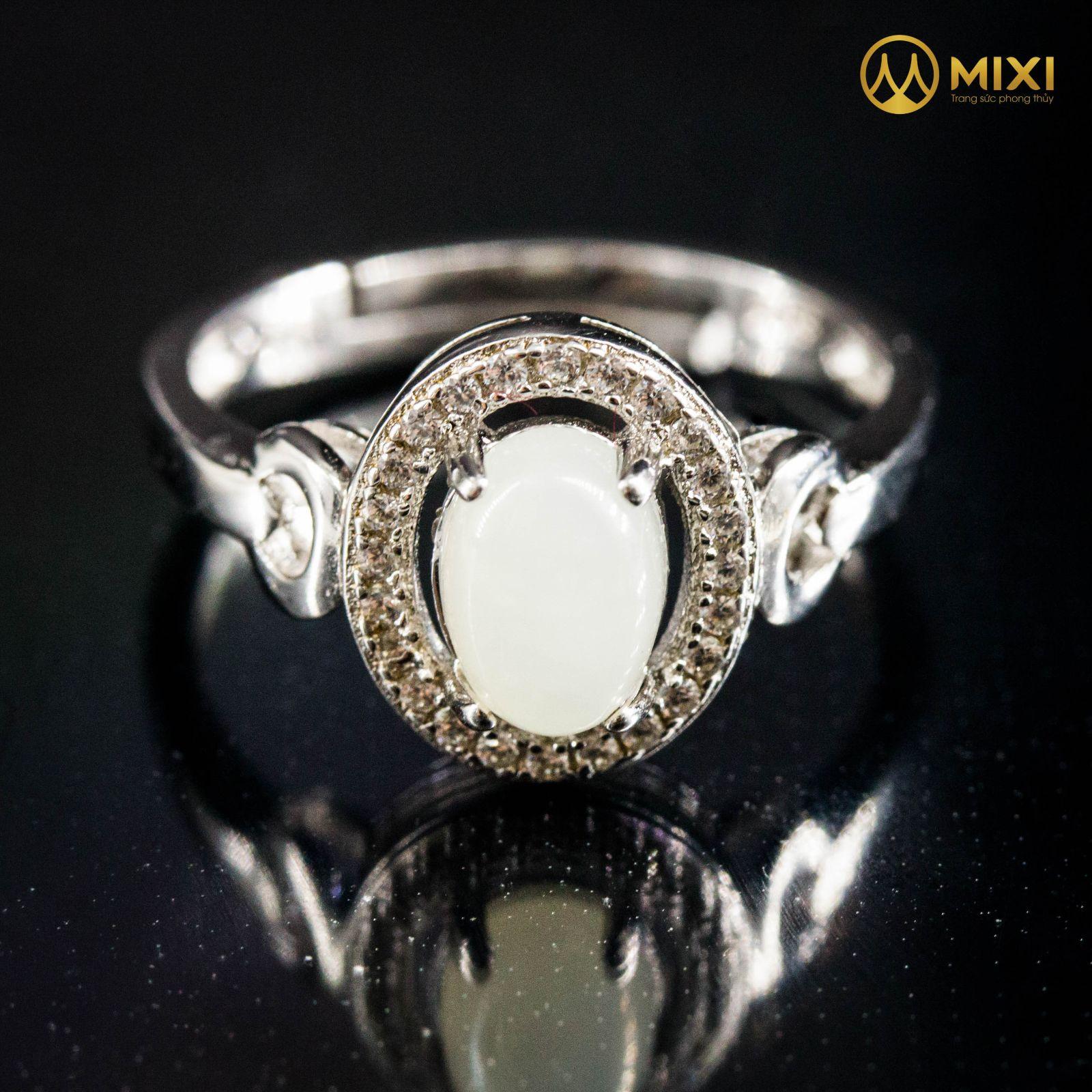 Nhẫn Bạc Bạch Ngọc Onyx Marble Hình Oval Sủi Đá Viền Kín