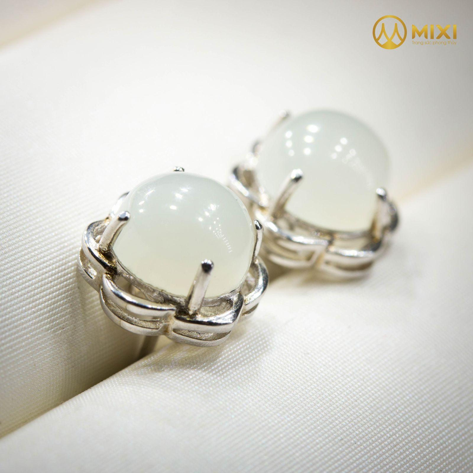 Hoa Tai Bạc Bạch Ngọc Onyx Marble Hình Tròn Viền Hoa