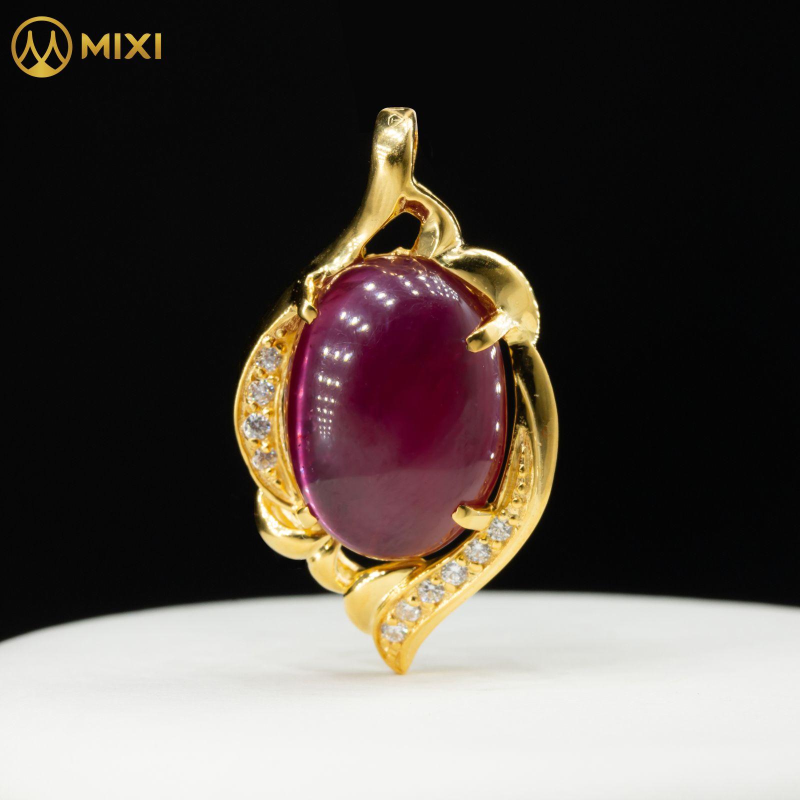 Mặt Dây Ruby 2A Hình Oval Bọc Vàng 10K