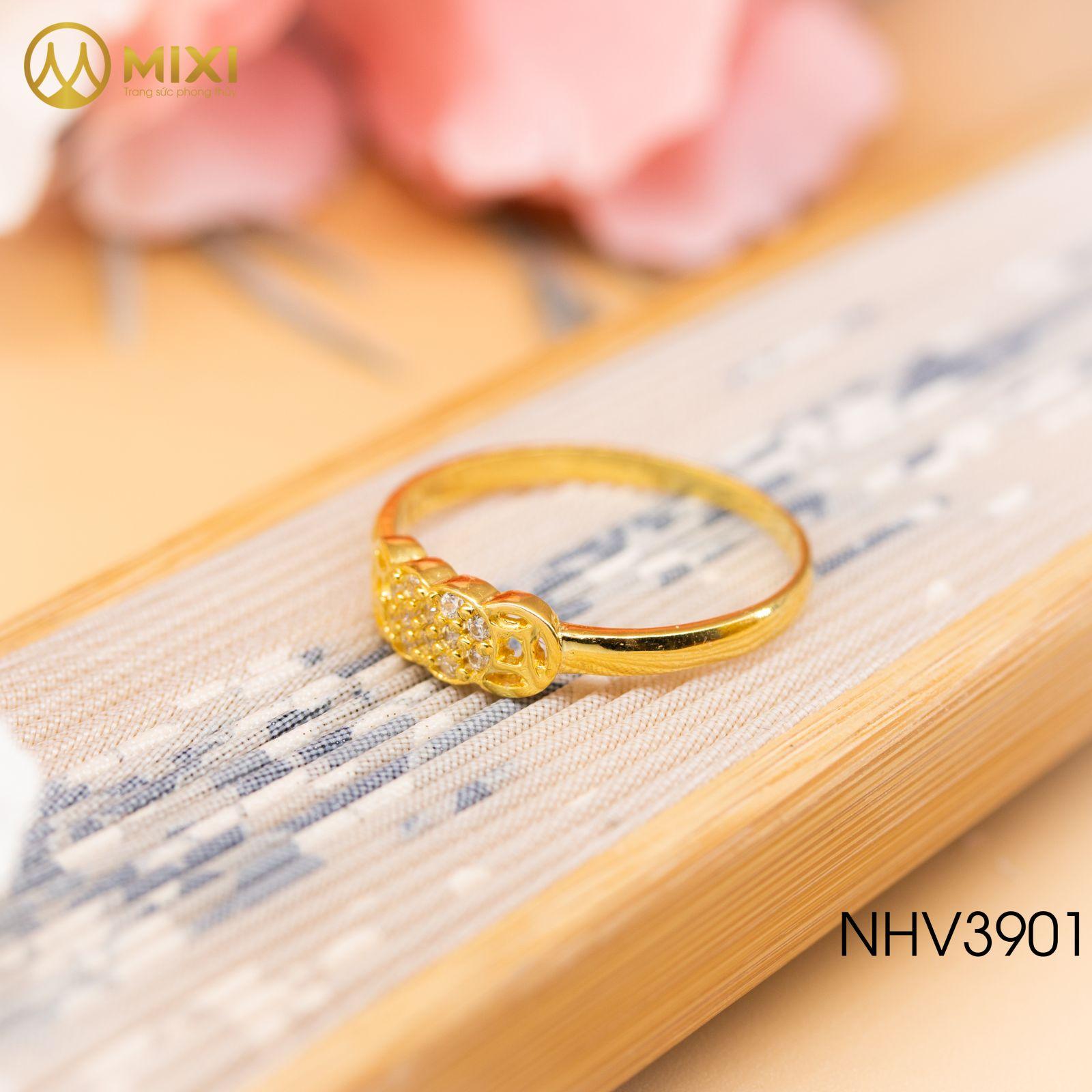 Nhẫn Nữ Mặt Kim Tiền Sủi Đá Vàng 10K_11