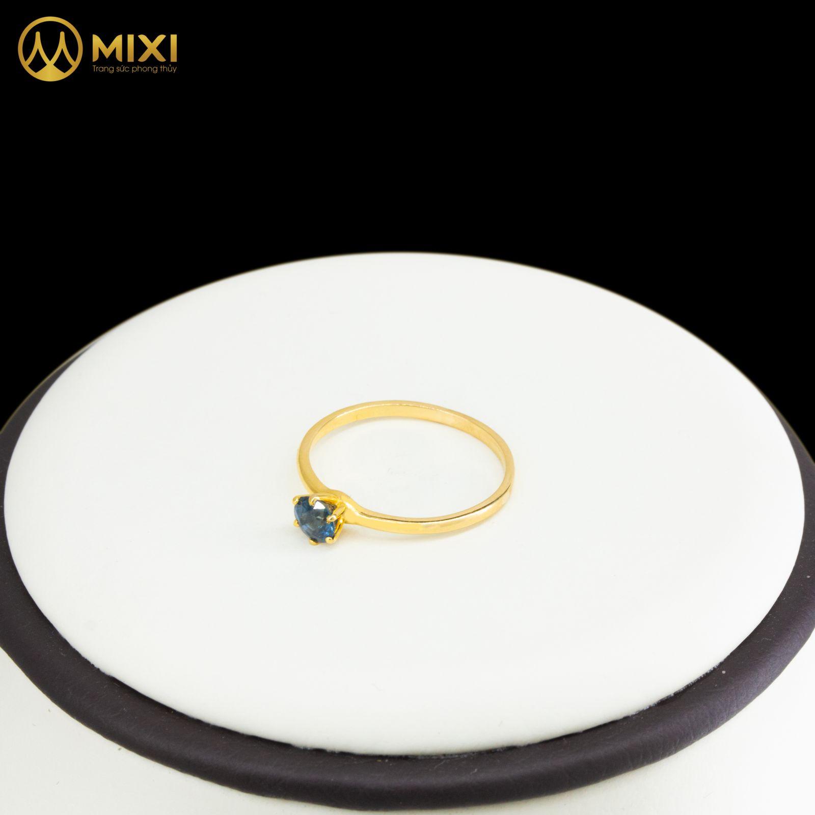 Nhẫn Nữ Mặt Đá Saphia Xanh Dương Giác Tròn Vàng 10K