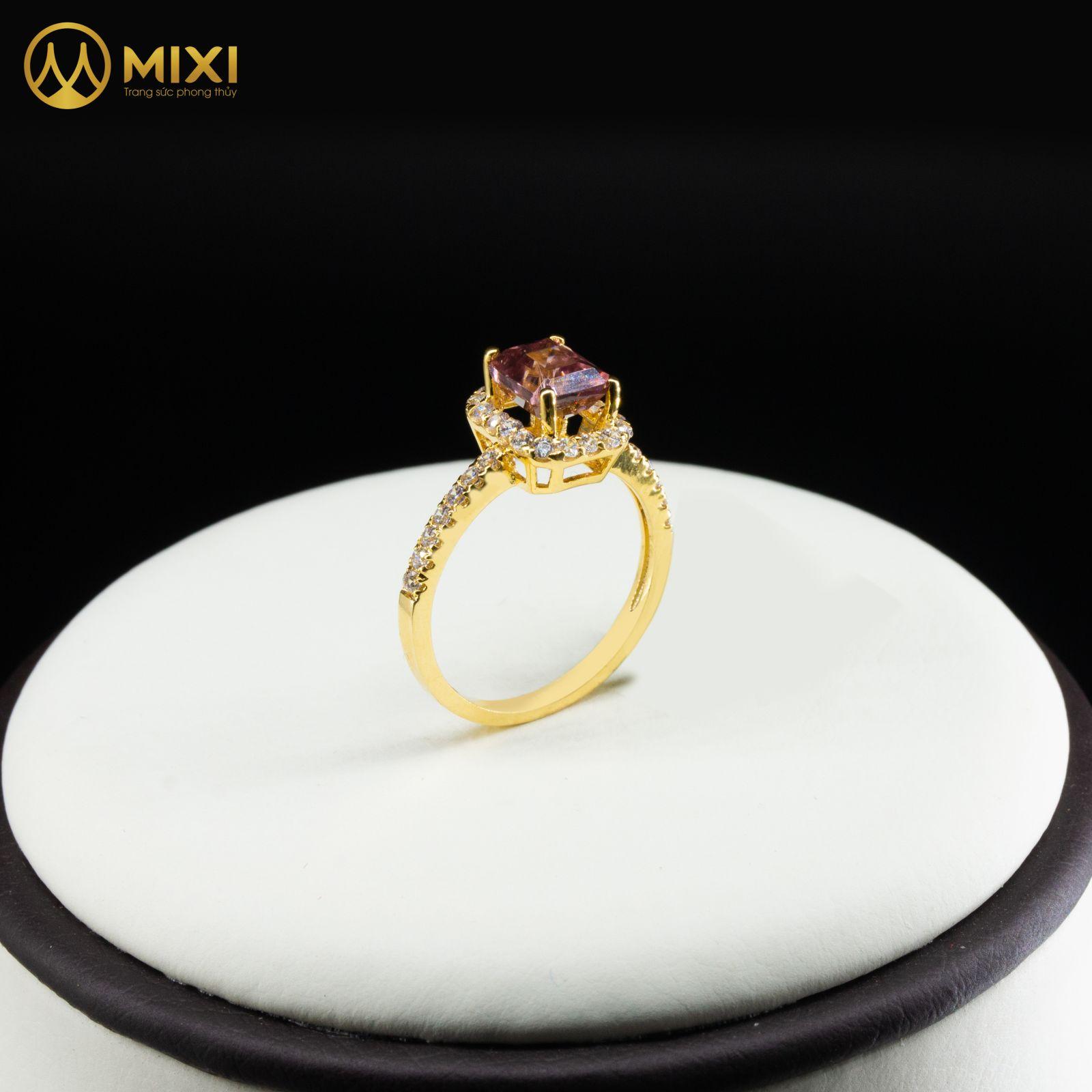 Nhẫn Nữ Mặt Đá Zicong Hồng Chữ Nhật Vàng 10K_Sủi Đá