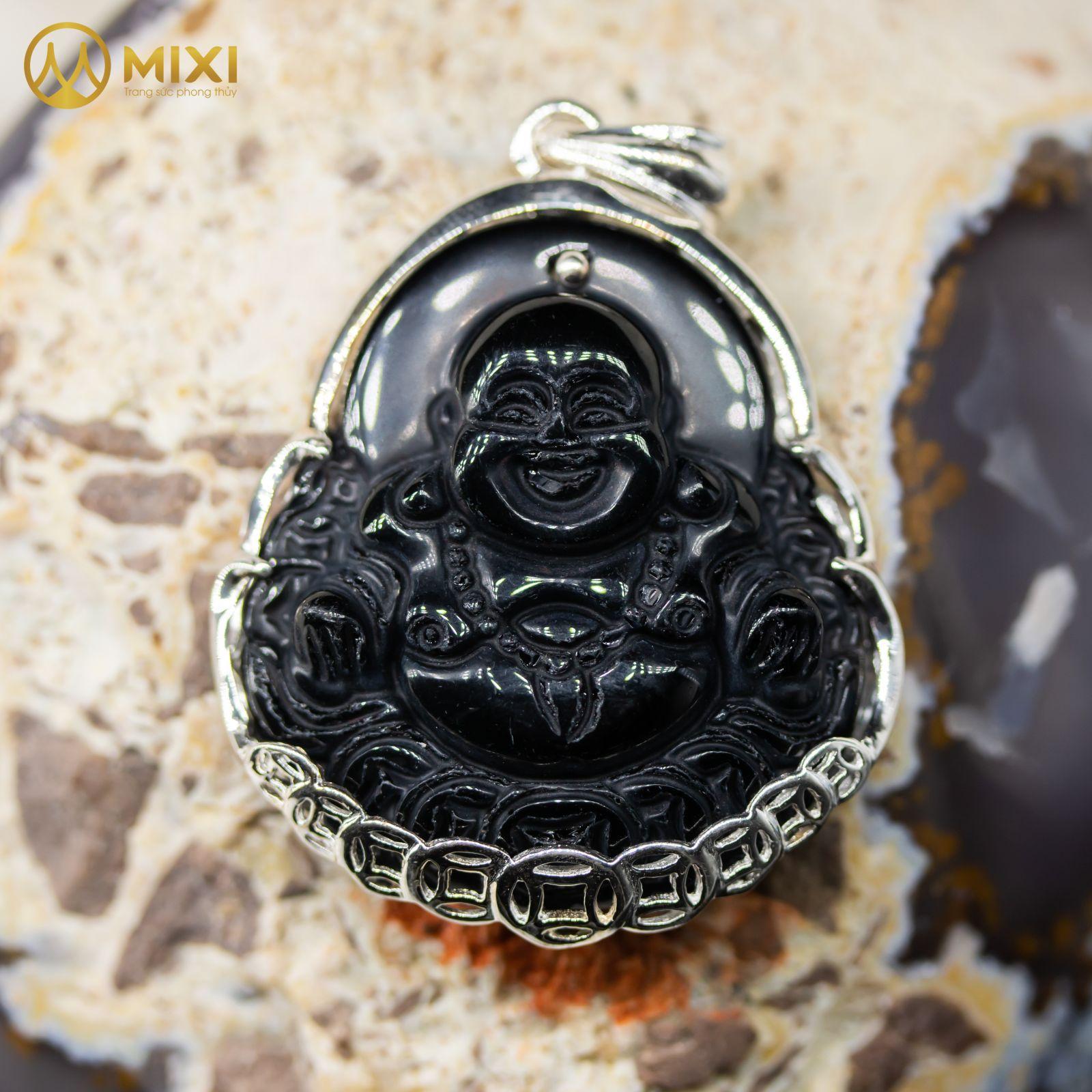 Mặt Dây Phật Di Lặc Núi Lửa Obsidian Bọc Bạc_To