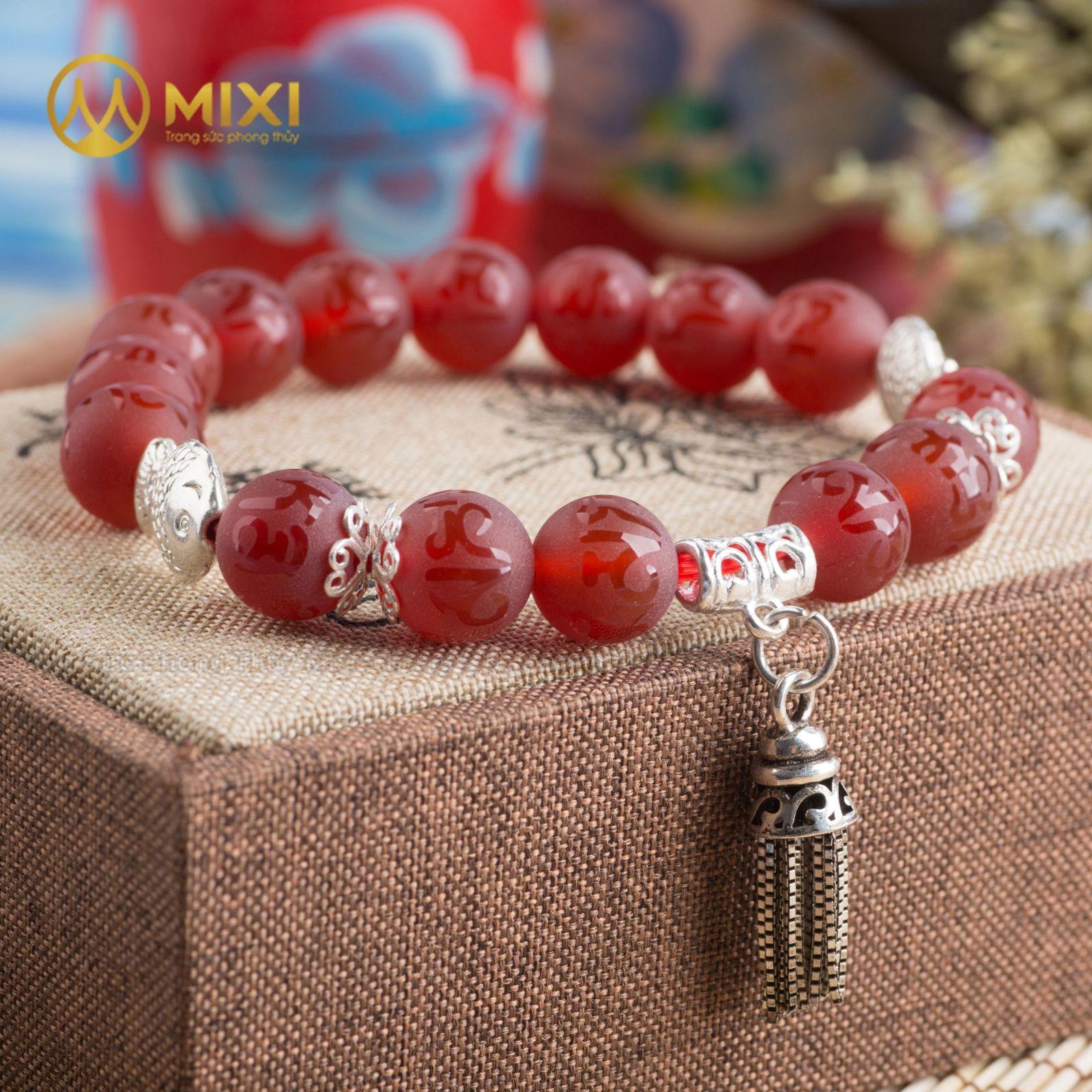 Vòng Tay Đá Mã Não Đỏ Nhám Kinh Phật 10 Mix Charm Chuông Gió Bạc 925 BCG01