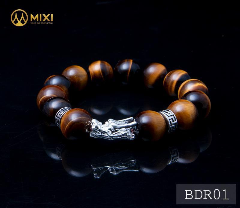 Vòng Tay Đá Mắt Hổ Nâu 2A 14 Mix Charm Đầu Rồng Bạc 999 BDR01