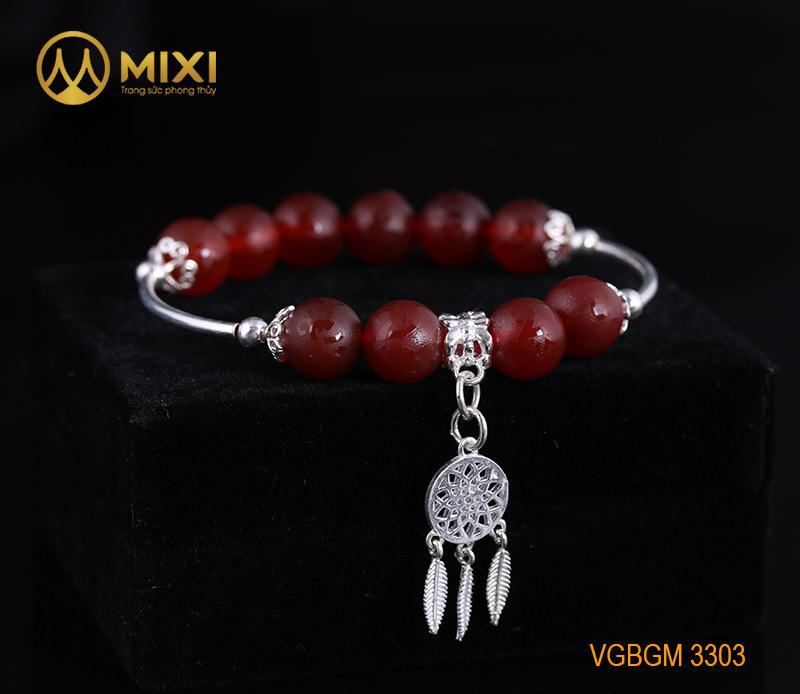 VT Đá Mã Não Đỏ Nhám Kinh Phật_10 Mix Charm Lưới Giấc Mơ (Dreamcatcher) Bạc 925_BLGM03