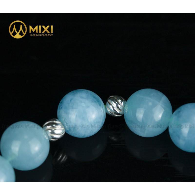 Vòng Tay Đá Aquamarine 2A 10 Mix Charm Lá Treo Bạc 999 BLT02