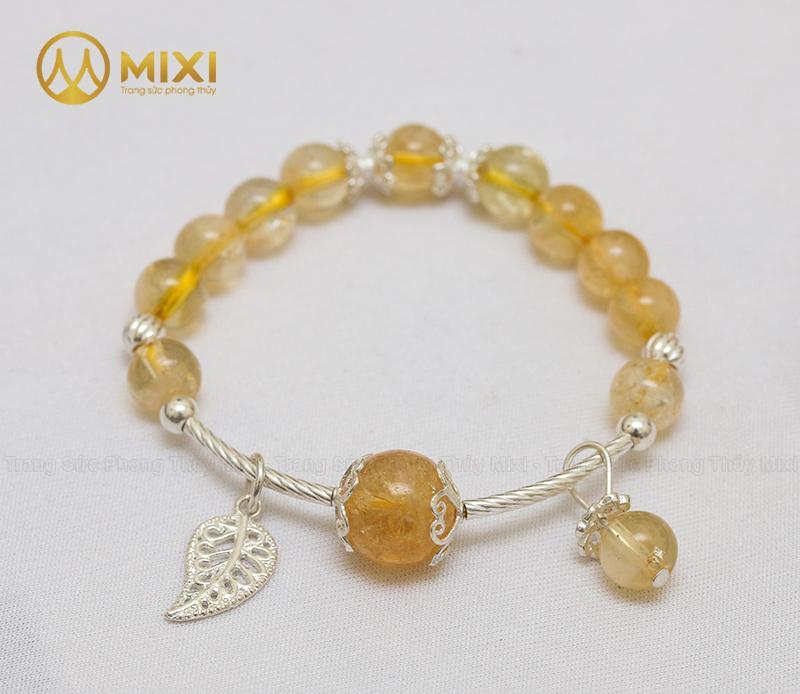 Vòng Tay Đá Thạch Anh Vàng 2A 8 Mix Charm Lá Treo Bạc 999 BLT03