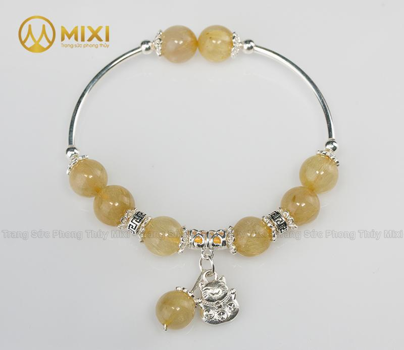 VT Đá Thạch Anh Tóc Vàng 2A_10 Mix Charm Mèo Thần Tài Treo Bạc 999_BMTT01