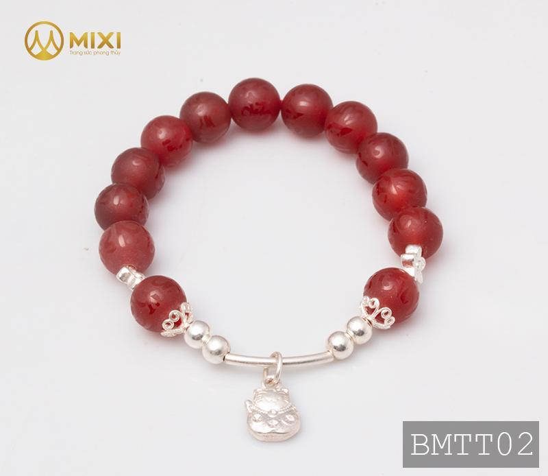 Vòng Tay Đá Mã Não Đỏ Nhám Kinh Phật 10 Mix Charm Mèo Thần Tài Treo Bạc 999 BMTT02