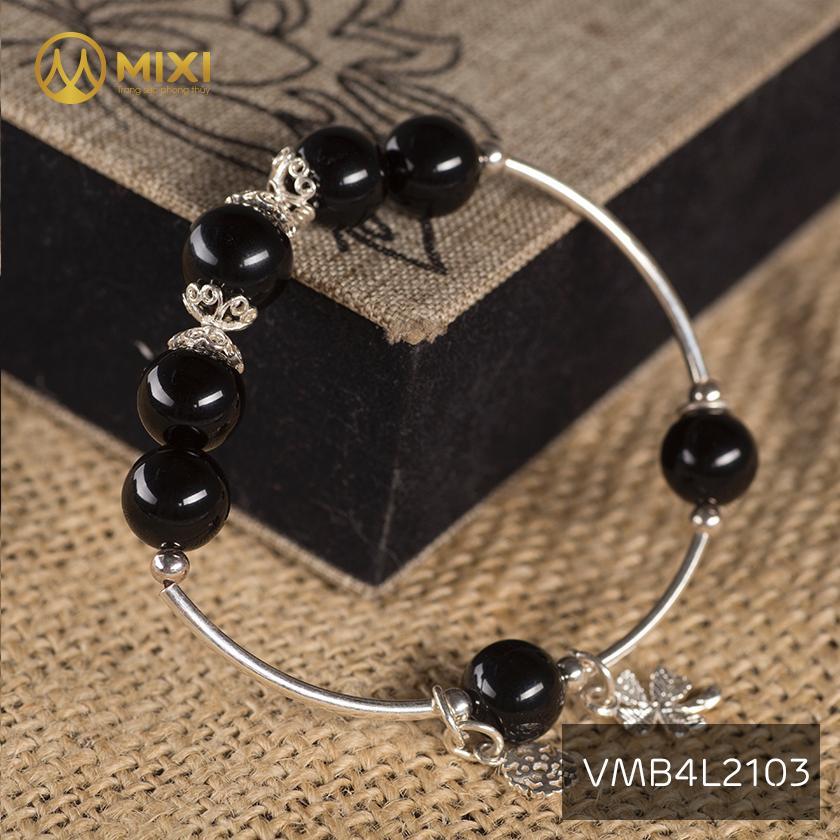 Vòng Tay Đá Núi Lửa Obsidian 10 Mix Charm Cỏ 4 Lá Bạc 999 BBL02