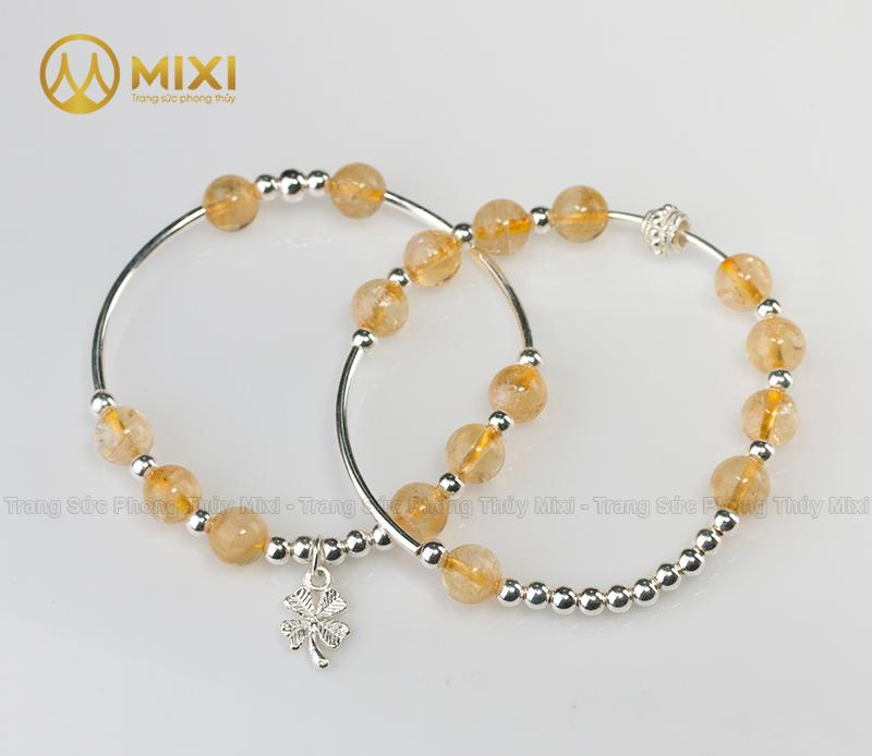 Vòng Tay Đá Thạch Anh Vàng 2A 8 Mix Charm Cỏ 4 Lá Bạc 999 BBL03