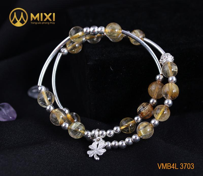 Vòng Tay Đá Thạch Anh Tóc Vàng 2A 8 Mix Charm Cỏ 4 Lá Bạc 999 BBL03