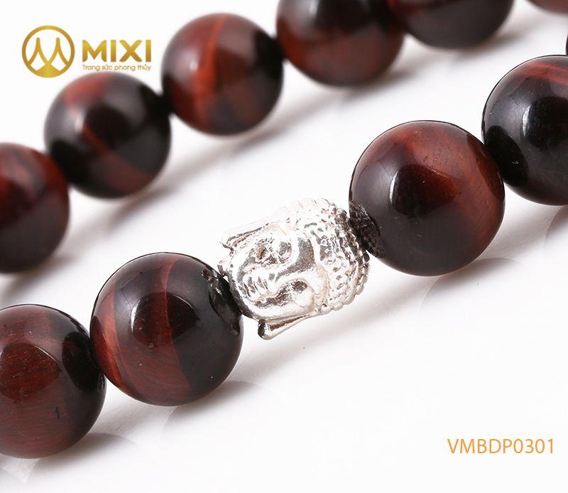 Vòng tay Mắt Hổ Đỏ 2A 10 mix Charm Đầu Phật Bạc 999