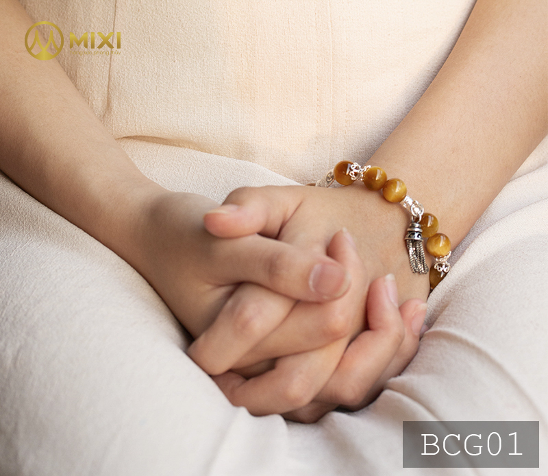 Vòng Tay Đá Mắt Hổ Vàng Tươi 2A 10 Mix Charm Chuông Gió Bạc 925 BCG01