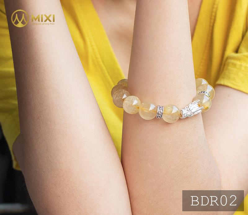Vòng Tay Đá Thạch Anh Tóc Vàng 1A 14 Mix Charm Đầu Rồng Bạc 999 BDR01