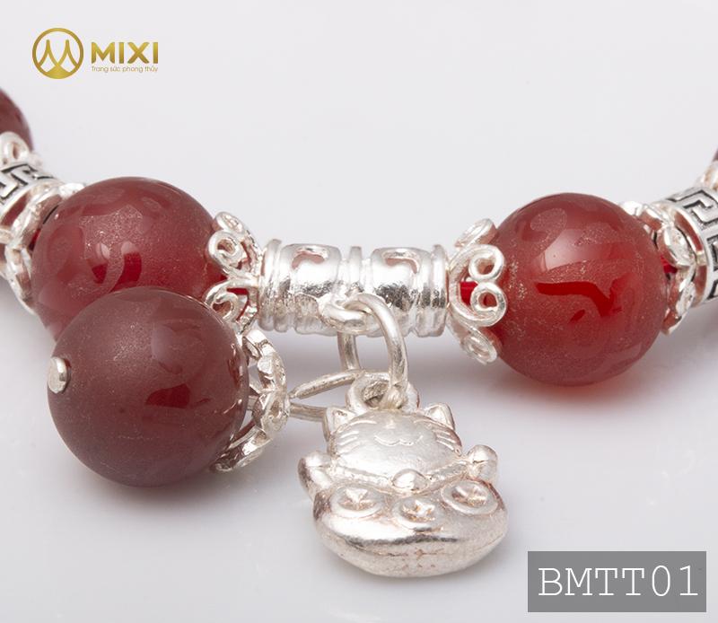 Vòng Tay Đá Mã Não Đỏ Nhám Kinh Phật 10 Mix Charm Mèo Thần Tài Treo Bạc 999 BMTT01