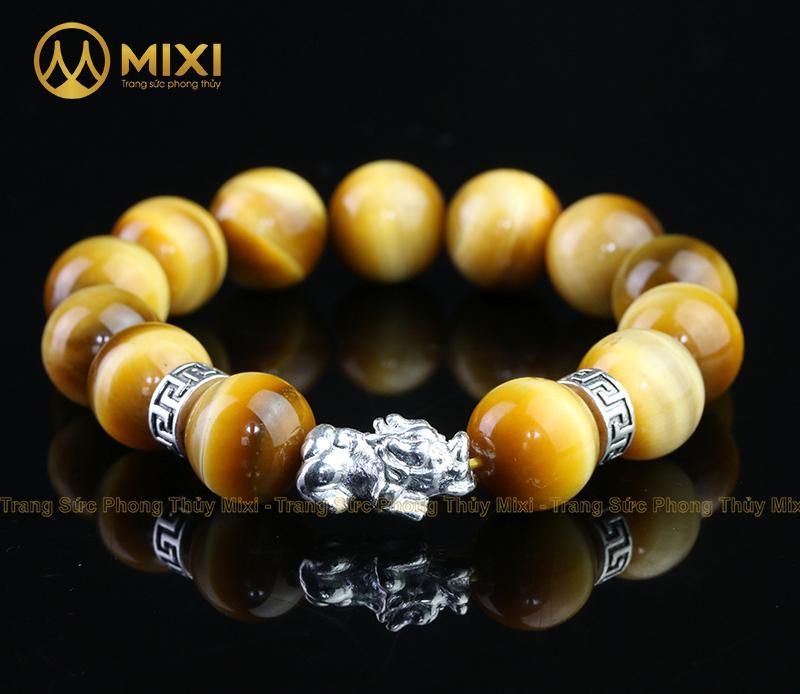 Vòng Tay Đá Mắt Hổ Vàng Tươi 2A 14 Mix Charm Tỳ Hưu Bạc 999 18 BTH02