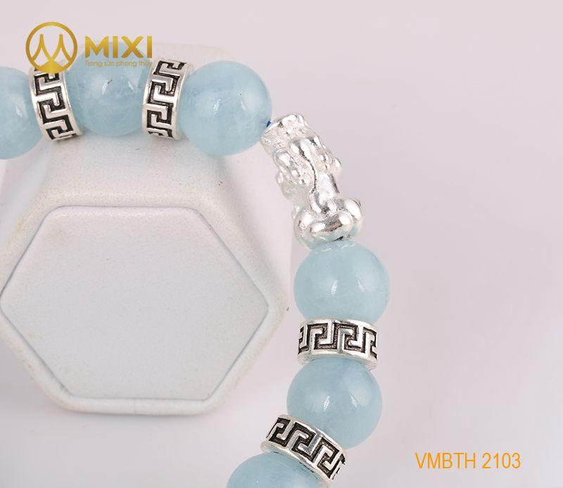 Vòng Tay Đá Aquamarine 1A 12 Mix Charm Tỳ Hưu Bạc 999 18 BTH01