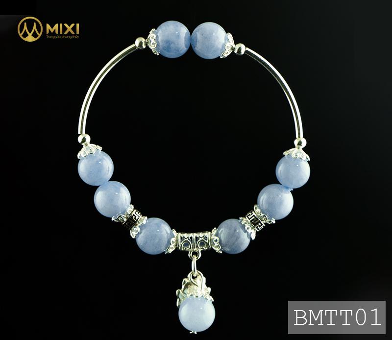 Vòng Tay Đá Aquamarine 2A 10 Mix Charm Mèo Thần Tài Treo Bạc 999 BMTT01