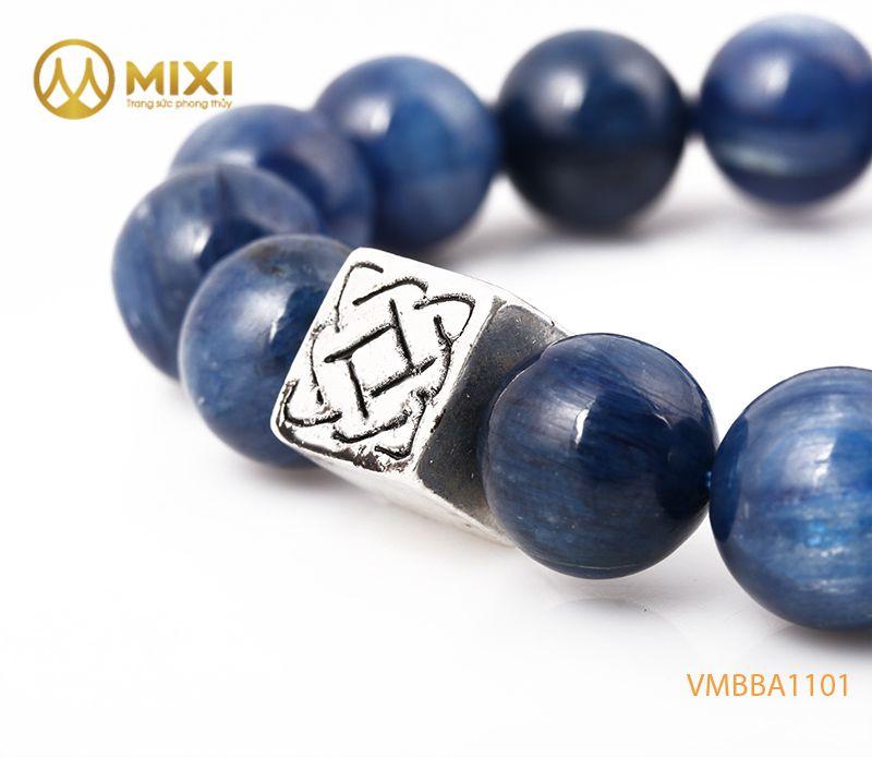 Vòng tay Kyanite 1A 12 mix Charm Bình An Bạc 999 BBA01