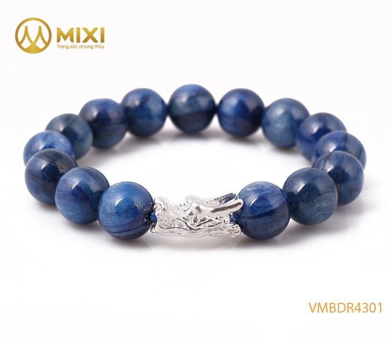 Vòng tay Kyanite 1A 12 mix Charm Đầu Rồng Bạc 999
