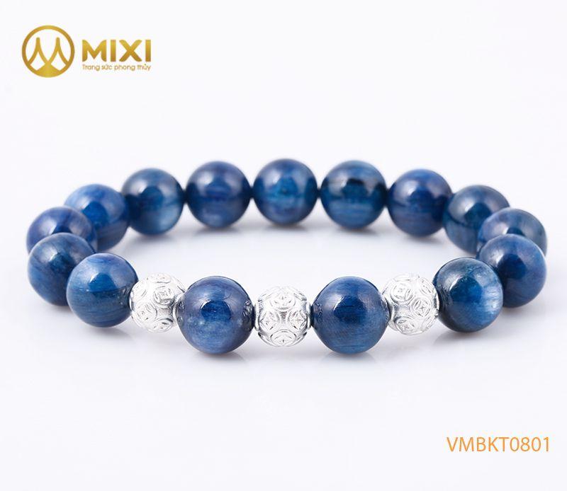 Vòng tay Kyanite 1A 12 Ly mix Charm Bi Kim Tiền Bạc 925