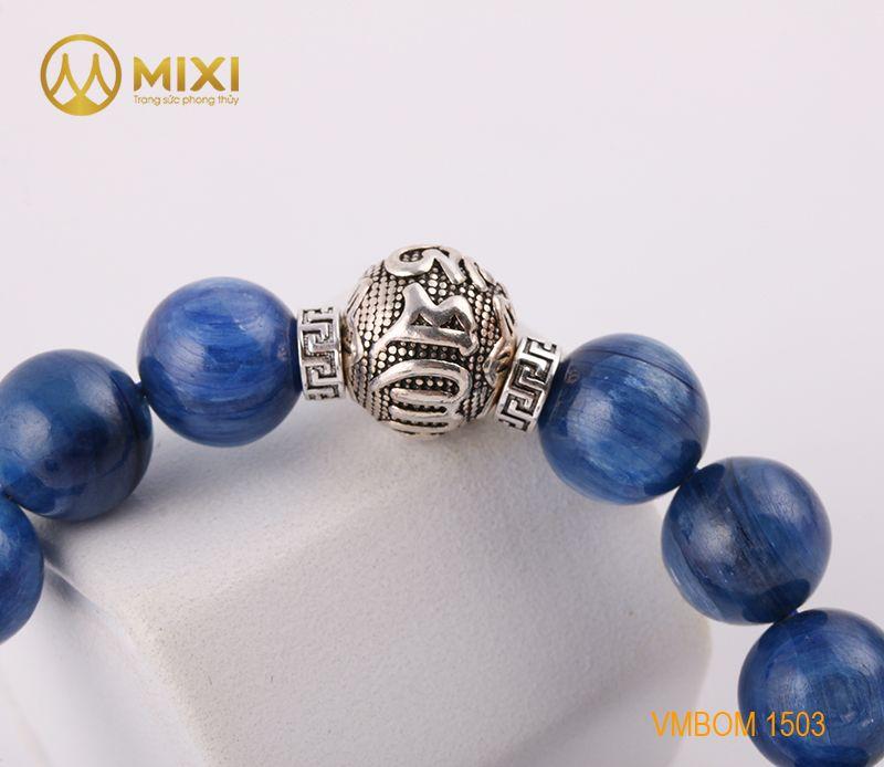 Vòng Tay Đá Kyanite 1A 12 Mix Charm Omshanti Bạc 925 12 BOST01