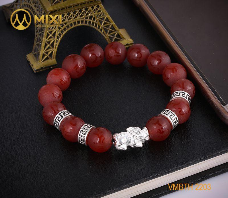 Vòng Tay Đá Mã Não Đỏ Nhám Kinh Phật 12 Mix Charm Tỳ Hưu Bạc 999 18 BTH01